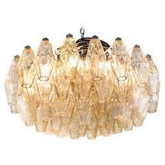 Italian Mid-Century Modern Polyhedral Murano Glass Chandelier Carlo Scarpa 1950s