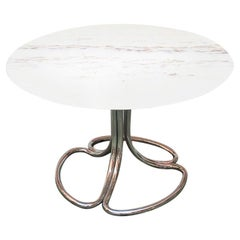 Italian Mid-Century Modern Portuguese Marble Table with Chromed Structure, 1970s