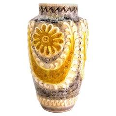 Italian Mid-Century Modern Pottery Vase with Floral Decor