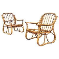 Italian Mid-Century Modern Rattan Armchairs with Armrests, 1960s