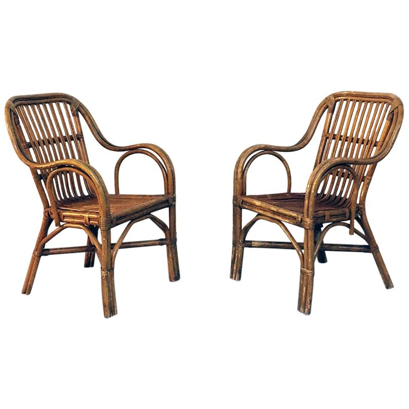 Italian Mid-Century Modern Rattan Armchairs with Curved Armrests, 1960s
