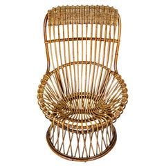 Rattan Wicker Lounge Chair, Italy 1950s