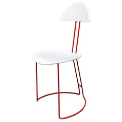 Italian Mid-Century Modern Red and White Metal Chair, 1980s