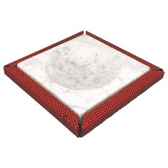 Italian Mid-Century Modern Red Marble and Micro-Perforated Metal Ashtray, 1980s