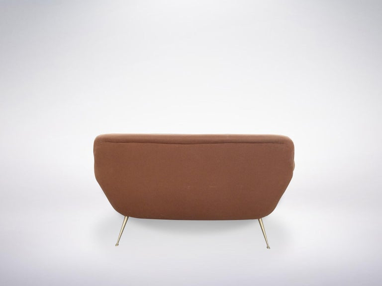 Italian Mid-Century Modern Red Maroon Brown Armchair, 1950s In Excellent Condition For Sale In Milan, IT