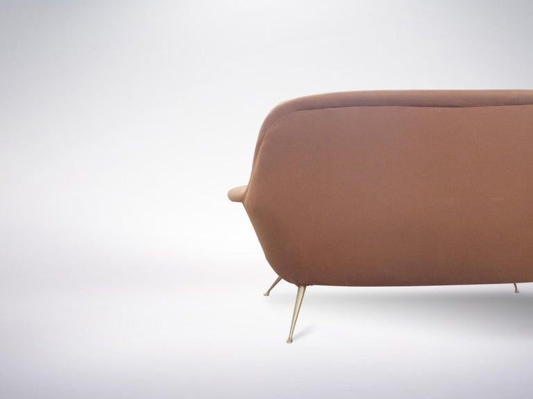 Mid-20th Century Italian Mid-Century Modern Red Maroon Brown Armchair, 1950s For Sale