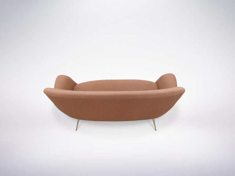 Metal Italian Mid-Century Modern Red Maroon Brown Armchair, 1950s For Sale