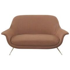 Italian Mid-Century Modern Red Maroon Brown Armchair, 1950s