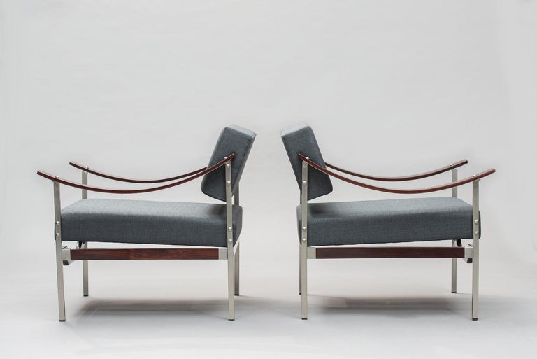Varnished Italian Mid-Century Modern Rosewood Armchairs One Pair For Sale