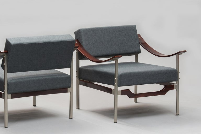 Mid-20th Century Italian Mid-Century Modern Rosewood Armchairs One Pair For Sale