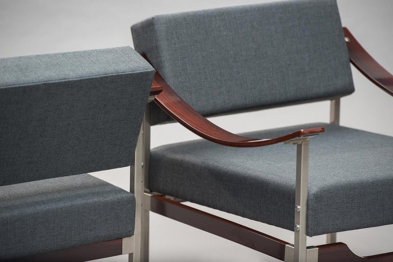 Fabric Italian Mid-Century Modern Rosewood Armchairs One Pair For Sale