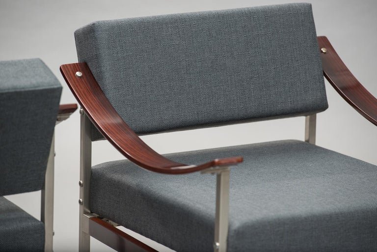 Italian Mid-Century Modern Rosewood Armchairs One Pair For Sale 3