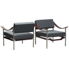 Italian Mid-Century Modern Rosewood Armchairs One Pair