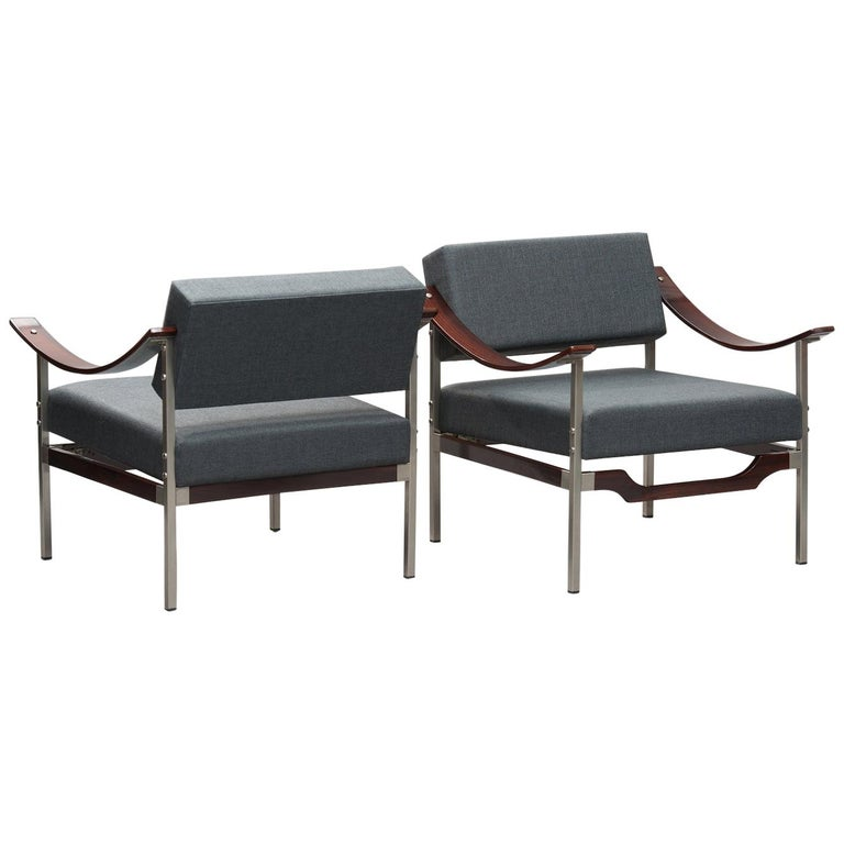 Italian Mid-Century Modern Rosewood Armchairs One Pair For Sale