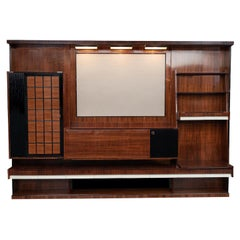 Italian Mid-Century Modern Rosewood Large Bookcase with Storage
