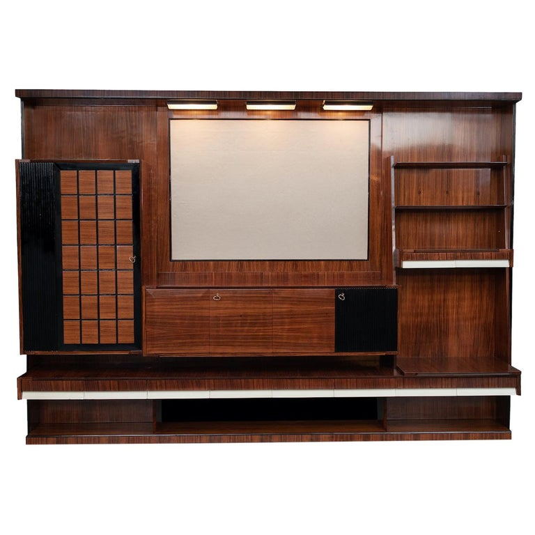 Italian Mid-Century Modern Rosewood Large Bookcase with Storage For Sale