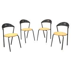 Italian Mid-Century Modern Round Beech Seat Chairs Fly Line, 1980s