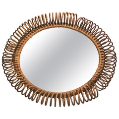 Italian Mid-Century Modern Round Mirror in Rattan Attributed to Franco Albini