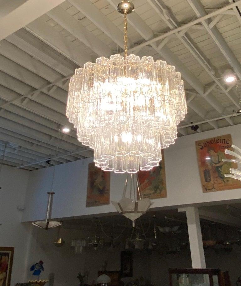 Glass Italian Mid-Century Modern Round Three-Tiered Tronchi Chandelier For Sale