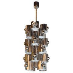 Italian Mid-Century Modern Sculptural Polished Chrome Chandelier by Sciolari