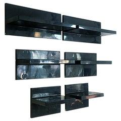 Italian Mid-Century Modern Set of Black Plastic Shelves with Asymmetrical, 1970s