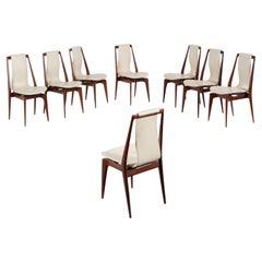 Italian Mid-Century Modern Set of Eight Teak and Vinyl Dining Chairs, 1950s