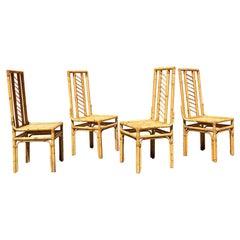 Italian Mid-Century Modern Set of Rattan Chairs with Intertwining, 1960s