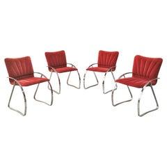 Italian Mid-Century Modern Set of Red Velvet and Chromed Chairs, 1970s