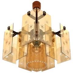 Italian Mid-Century Modern Smoked Amber Gold Cut Glass Fontana Style Chandelier