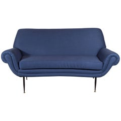 Italian Mid-Century Modern Sofa or Loveseat in Royal Blue Cotton & Linen Blend