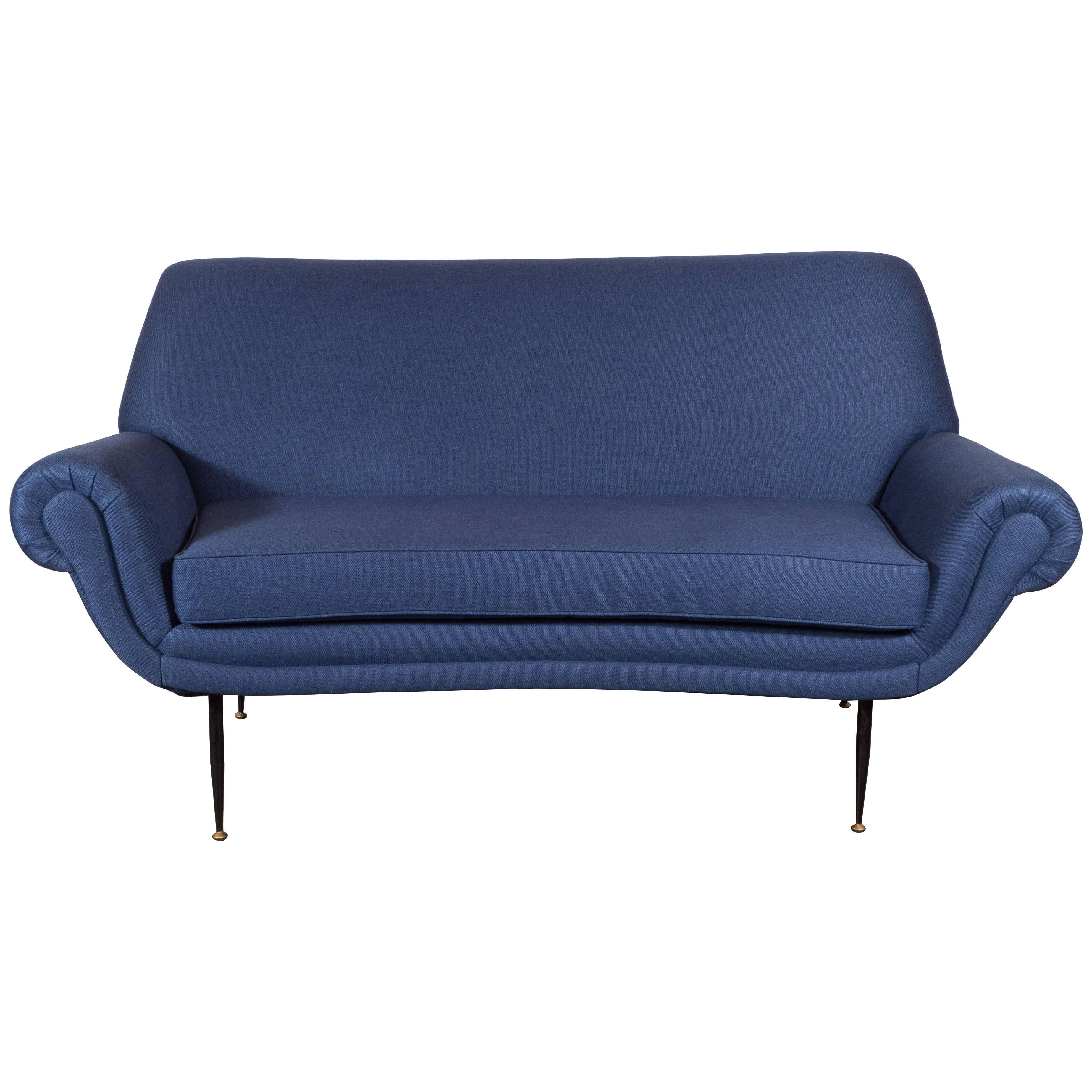 Italian Mid Century Modern Sofa Or Loveseat In Royal Blue Cotton U0026 Linen  Blend
