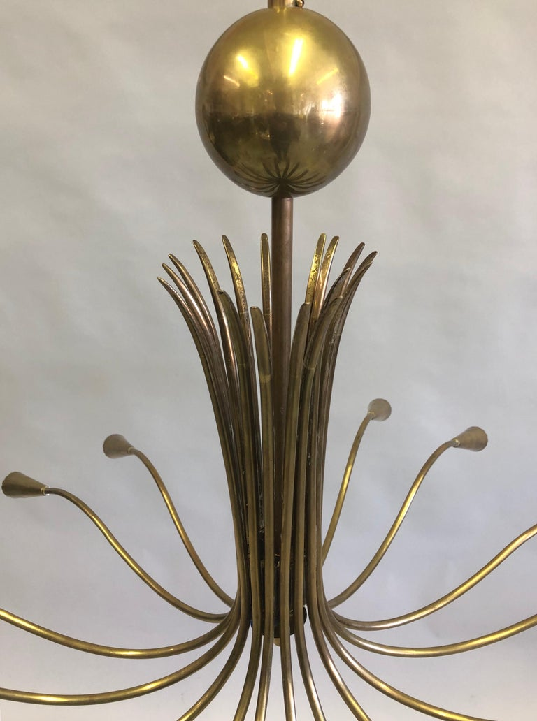 Italian Mid-Century Modern Solid Brass Pendant / Chandelier by Stilnovo In Good Condition For Sale In New York, NY