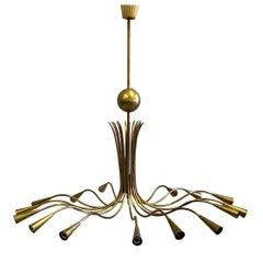 Italian Mid-Century Modern Solid Brass Pendant / Chandelier by Stilnovo
