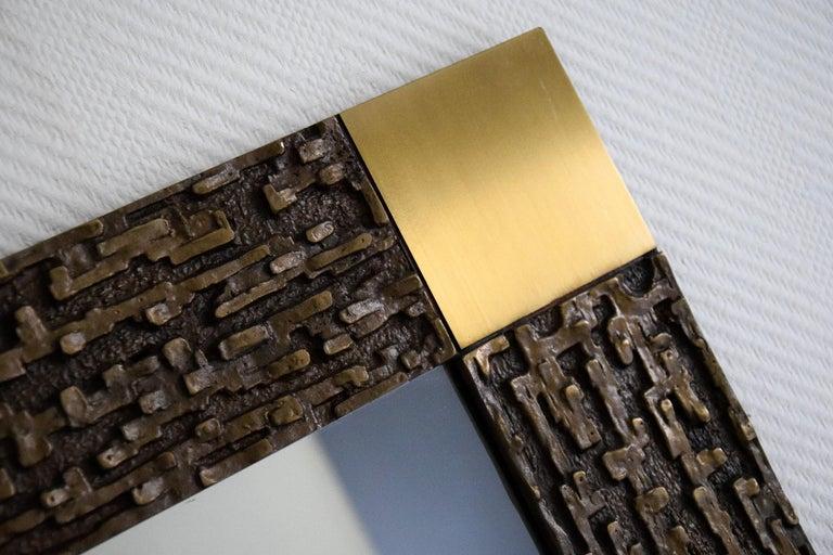Italian Mid-Century Modern Solid Bronze Square Mirror For Sale 6