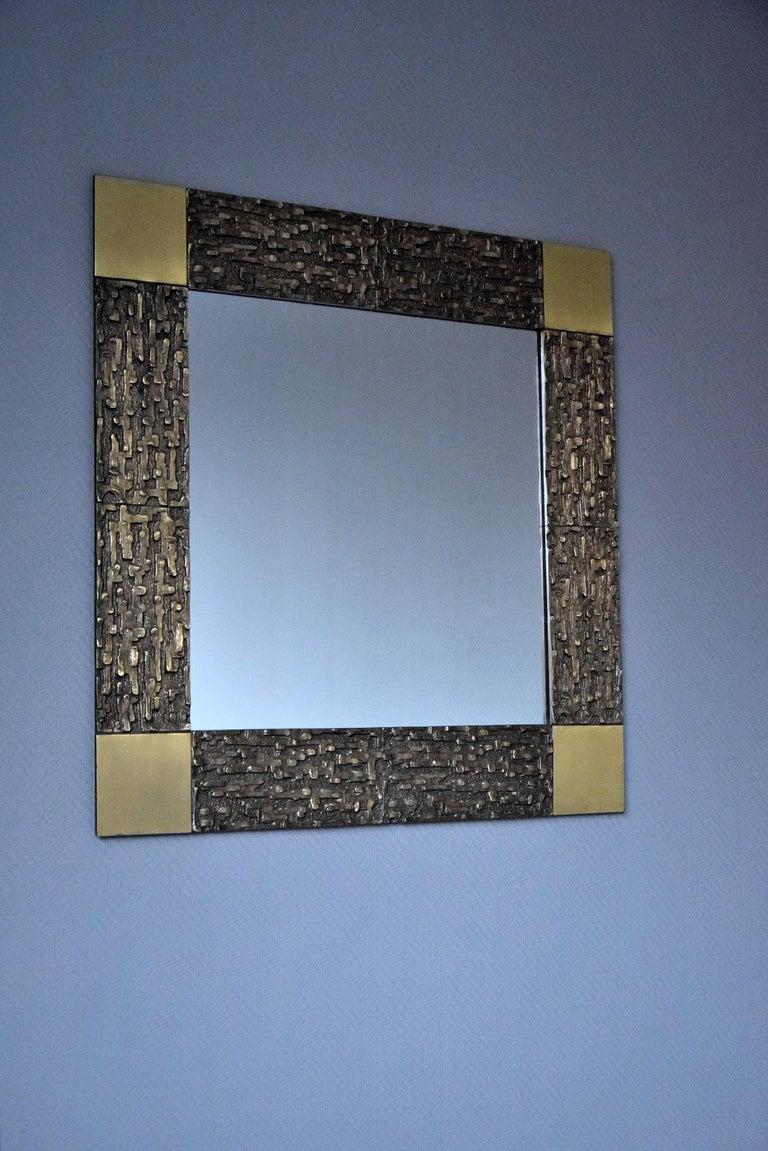 Italian Mid-Century Modern Solid Bronze Square Mirror For Sale 7