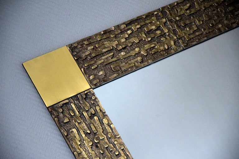 Italian Mid-Century Modern Solid Bronze Square Mirror For Sale 9