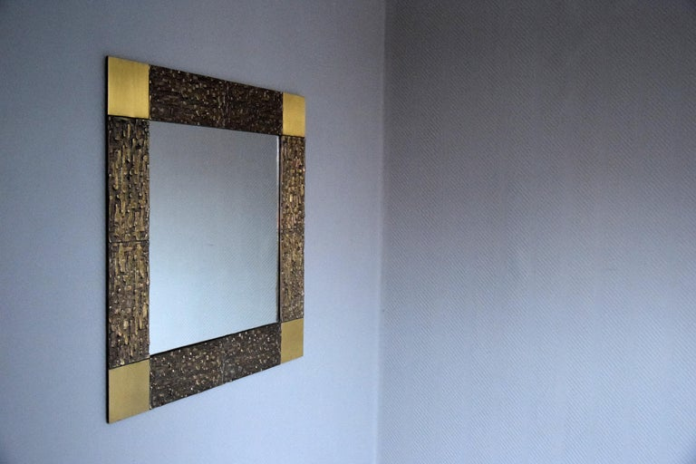 Italian Mid-Century Modern Solid Bronze Square Mirror In Good Condition For Sale In Weesp, NL