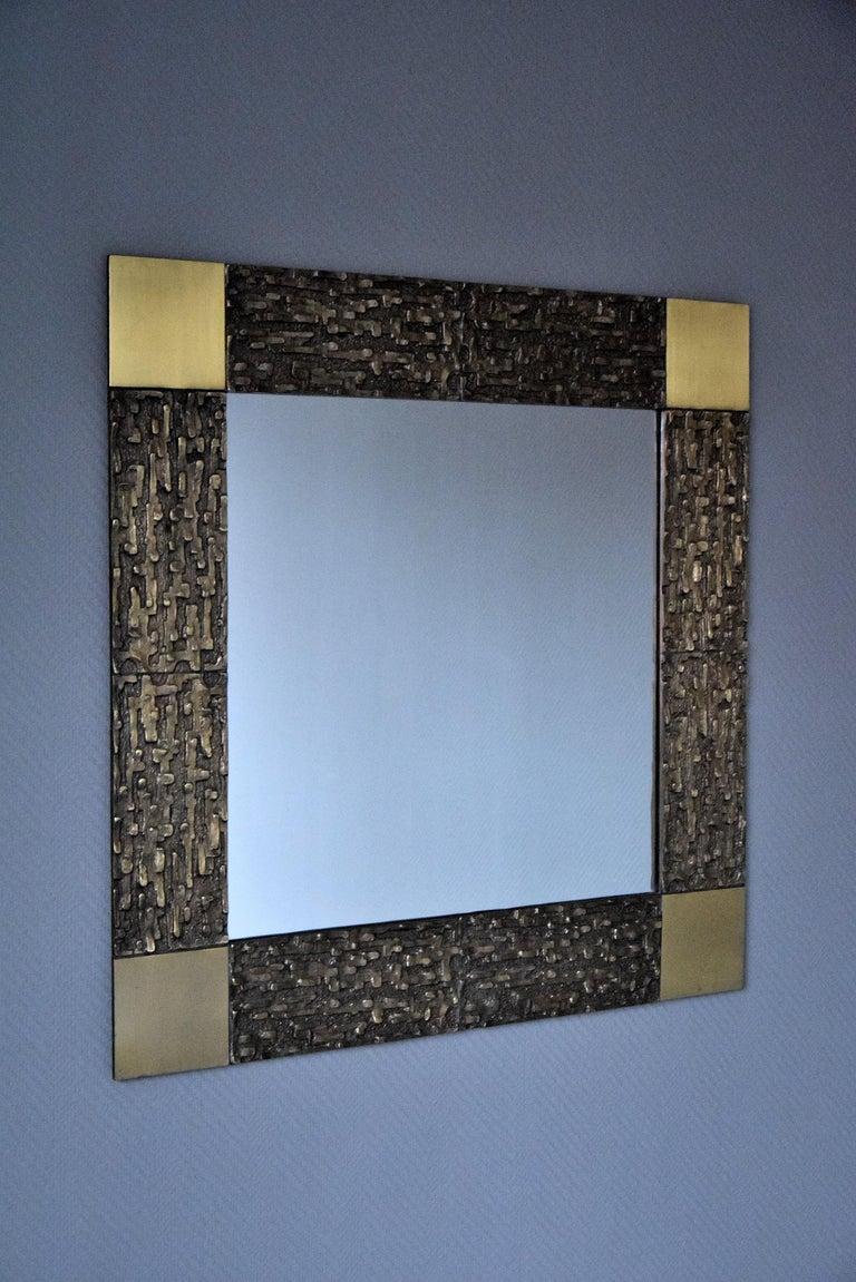 Mid-20th Century Italian Mid-Century Modern Solid Bronze Square Mirror For Sale