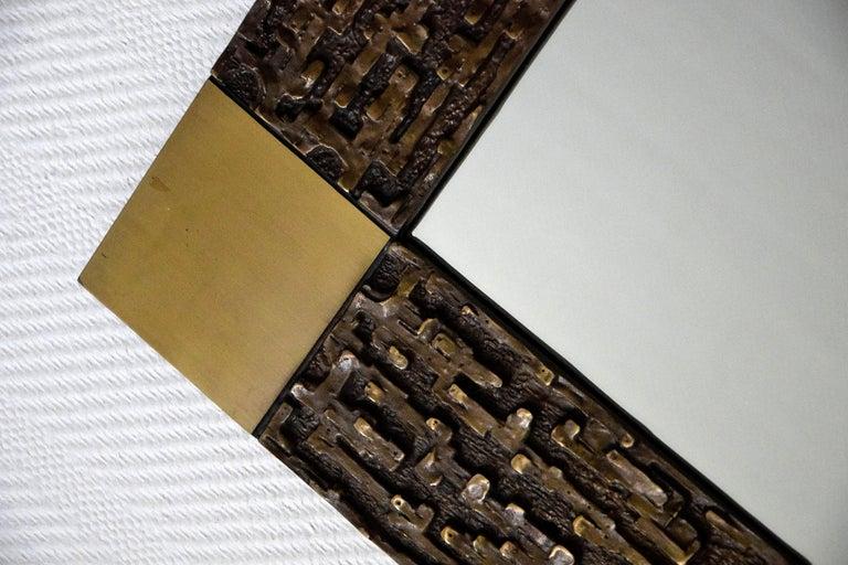 Italian Mid-Century Modern Solid Bronze Square Mirror For Sale 1