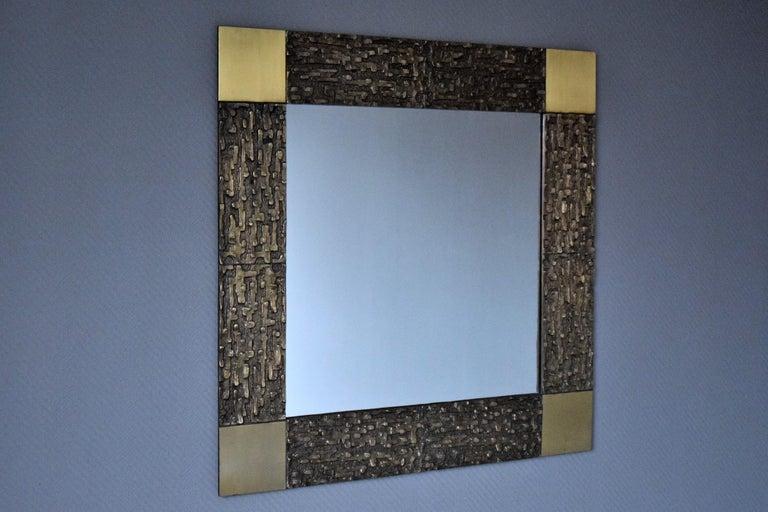 Italian Mid-Century Modern Solid Bronze Square Mirror For Sale 2