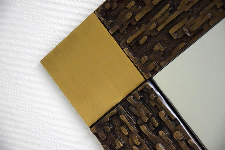 Italian Mid-Century Modern Solid Bronze Square Mirror For Sale 3