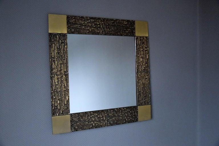 Italian Mid-Century Modern Solid Bronze Square Mirror For Sale 4