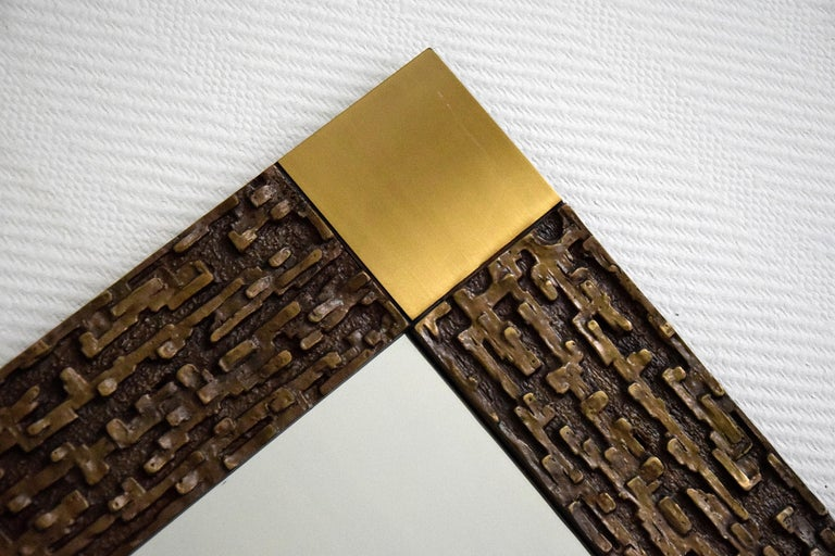Italian Mid-Century Modern Solid Bronze Square Mirror For Sale 5