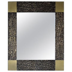 Italian Mid-Century Modern Solid Bronze Square Mirror
