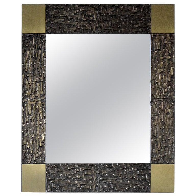 Italian Mid-Century Modern Solid Bronze Square Mirror For Sale