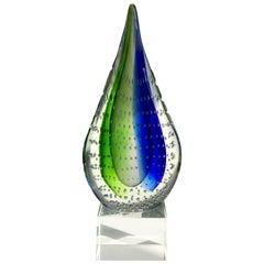 Italian Mid-Century Modern Sommerso Glass Teardrop Sculpture, 1980s