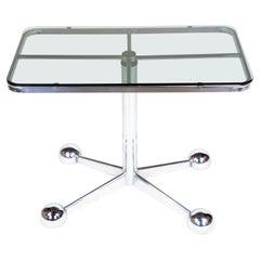 Italian Mid-Century Modern Space Age Chrome, Glass Side Table on Castors, 1970s