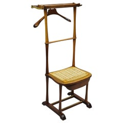 Italian Mid-Century Modern SPQR Birch, Brass Clothing Valet Suit Stand Chair