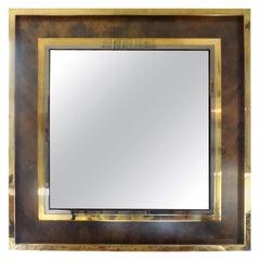 Italian Mid-Century Modern Square Brass Mirror