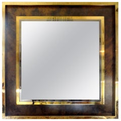 Italian Mid-Century Modern Square Brass Mirror-Romeo Rega Attributed